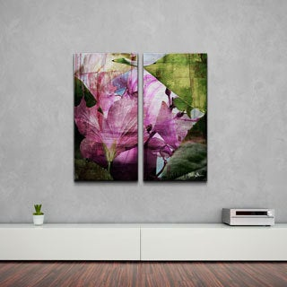 Alexis Bueno 'Hibiscus' 2-piece Oversized Abstract Canvas Wall Art Set