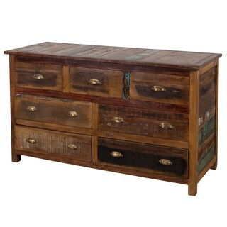 Handcrafted Reclaimed Stripped Wood 7-drawer Chest (India)