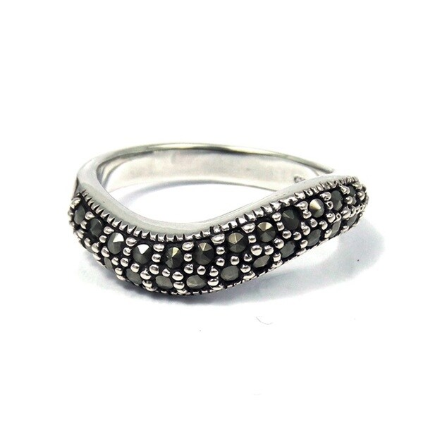 contempo swirl marcasite embellished 925 silver ring