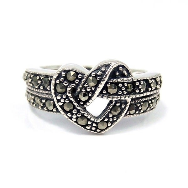 beautitul knot marcasite 925 silver ring thailand