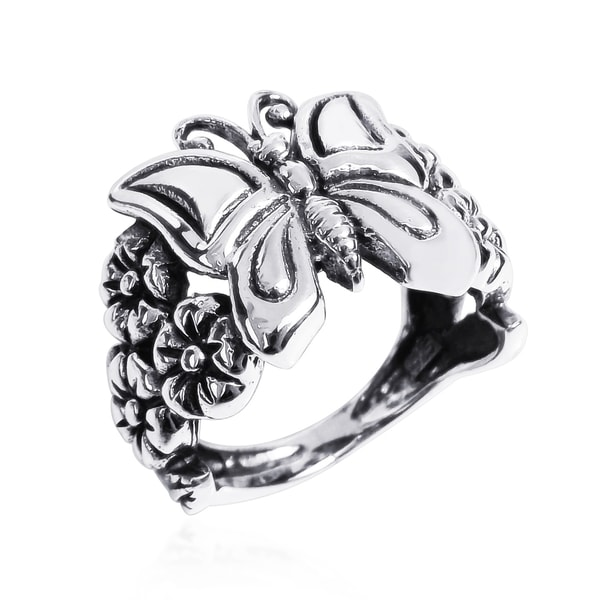 Tropical Butterfly Garden Floral Clusters .925 Silver Ring (Thailand)