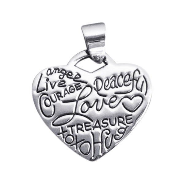 Live Love Scribble Messages Heart Sterling Silver Pendant (Thailand)