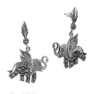 Mythical Flying Elephant Marcasite .925 Silver Earrings (Thailand)
