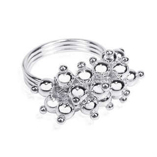 Trendy Mini Cluster Bouquet .925 Silver Beads Ring (Thailand)