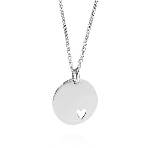 Endless Love .925 Silver Heart Tag Round Pendant Necklace (Thailand)
