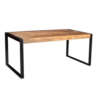 Handcrafted Reclaimed Wood and Metal Dining Table (India)