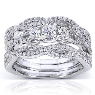 Annello 14k White Gold 3/4ct TDW Braided Diamond Bridal Set (H-I, I1-I2)