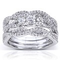 Annello 14k White Gold 3/4ct TDW Diamond Bridal Set (H-I, I1-I2)