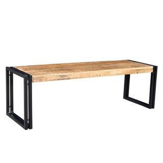 Handcrafted Reclaimed Wood and Metal Bench (India)