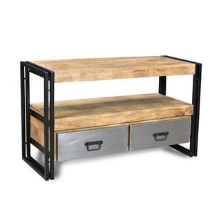 Handmade Reclaimed Wood TV Cabinet and Metal Drawers (India)