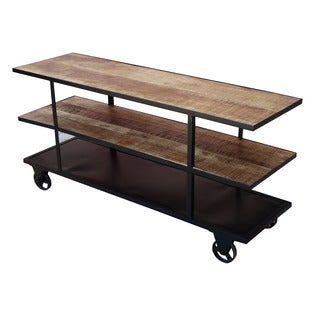 Handcrafted Reclaimed Wood Media Console and Wheels (India)