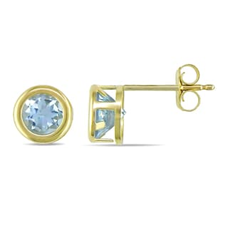 Miadora 10k Yellow Gold Blue Topaz Solitaire Earrings