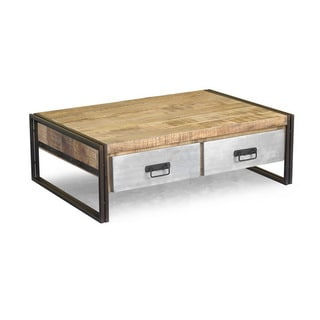 Handcrafted Reclaimed Wood and Metal Coffee Table (India)