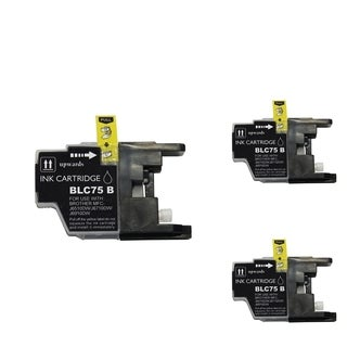 BasAcc Black Cartridge Set Compatible with Brother LC75 BK (Pack of 3)