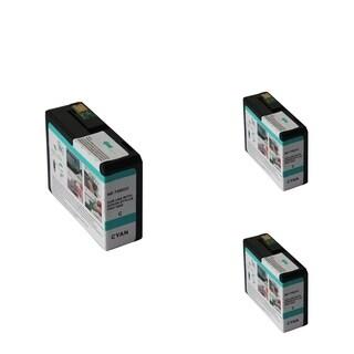 INSTEN Epson T5802C 80ml Cyan Cartridge Set (Remanufactured) (Pack of 3)