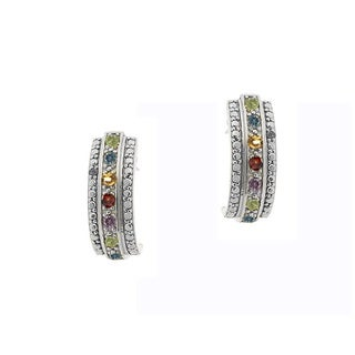 Glitzy Rocks Rhodium-plated Multi-Gemstones and Diamond-accent Half Hoop Earrings (I-J, I2-I3)