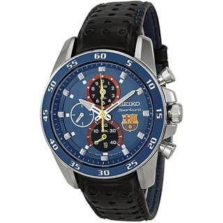 SEIKO Men's Sportura Blue Dial Chrono FC Barcelona Watch - SPC089