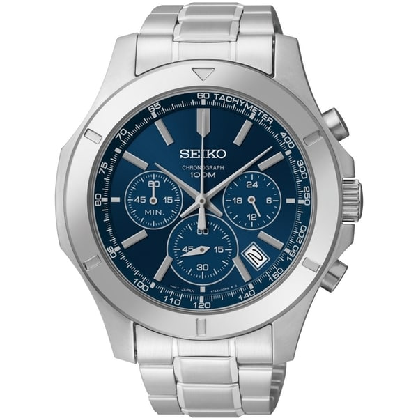 SEIKO Men's Chronograph Blue Dial Stainless Steel Watch - SSB103