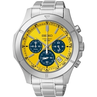 SEIKO Men's Chronograph Yellow Dial Stainless Steel Watch - SSB115