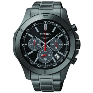 SEIKO Men's Chronograph Black Dial Stainless Steel Black Ion Watch - SSB119