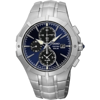 Seiko Men's SSC197 Coutura Solar Chrono Blue Dial Stainless Steel Watch