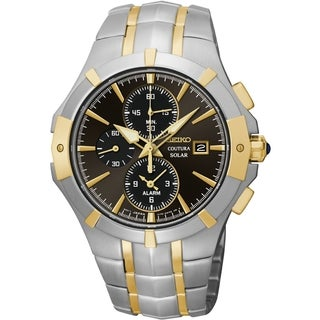 Seiko Men's Coutura Solar Chrono Grey Dial Two-Tone Watch