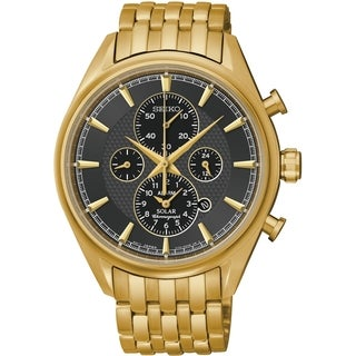 SEIKO Men's Solar Chronograph Black Dial Gold Watch - SSC210