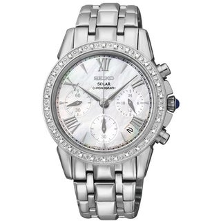 Seiko Women's SSC893 Grand Sport Diamond Solar Chronograph Watch,