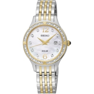 SEIKO Women's Solar Mother Of Pearl Dial Two Tone Diamond Watch - SUT092