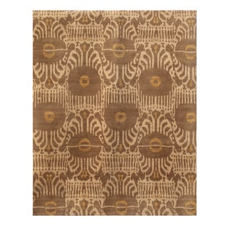Hand-Knotted Gold/ Yellow Hand carded Wool Rug (8x10)