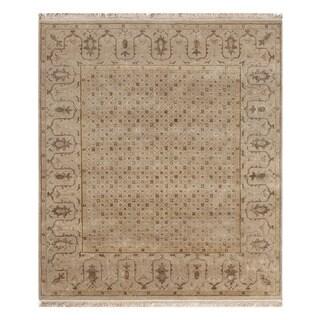 Hand-Knotted Ivory/ White Handspun Wool/ Silk Rug (8x10)