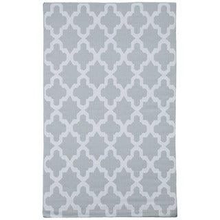 Flat-Weave Gray/ Black 100-Percent Wool Rug (9x12)