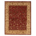 Hand-Knotted Beige/ Brown Wool Rug (8x10)