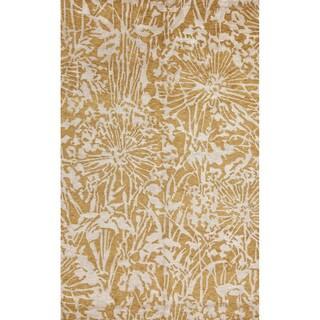 Hand-Knotted Gold/ Yellow Handspun Tibetan Wool/ Silk Rug (2x3)
