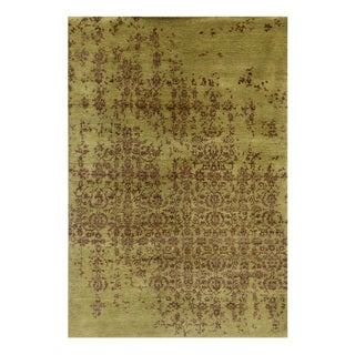 Hand-Knotted Beige/ Brown Hand carded Wool Rug (9.6x13.6)