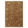 Hand-Knotted Beige/ Brown Hand Carded, Hand Twisted Wool Rug (2x3)