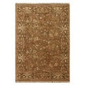Hand-Knotted Beige/ Brown Hand Carded, Hand Twisted Wool Rug (8x10)