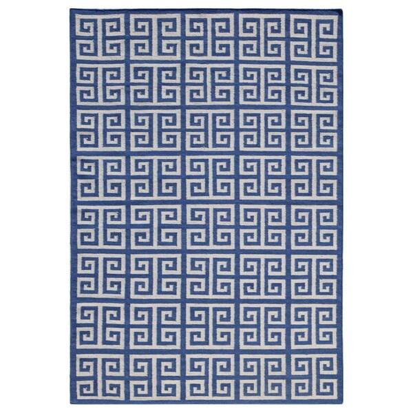 Flat-Weave Blue 100-Percent Wool Rug (9x12)
