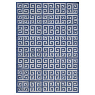 Flat-Weave Blue 100-Percent Wool Rug (9x12)