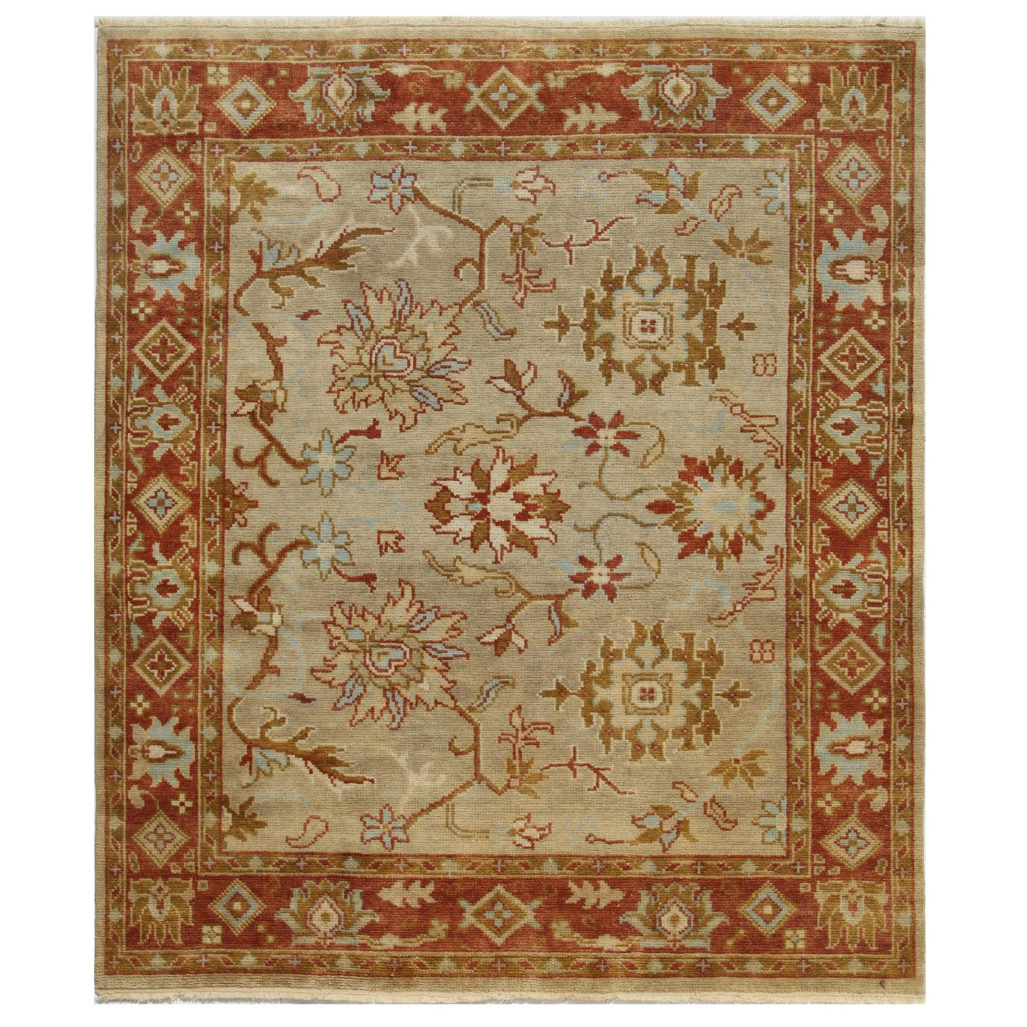 Hand-Knotted Red/ Orange 100-Percent New Zealand Wool Rug (8x10)