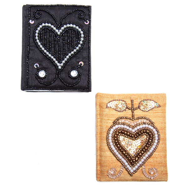 Set of Two 3 x 4-inch Handmade Embroidered Fabric Notebooks (India)