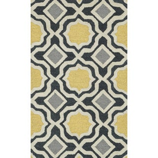 Hand-tufted Tatum Charcoal/ Gold Wool Rug (2'3 x 3'9)
