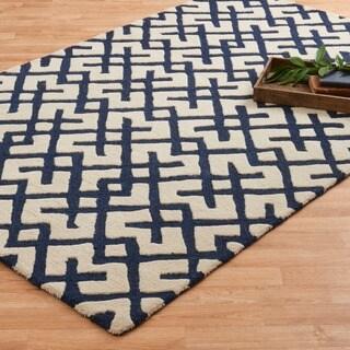 Hand-tufted Tatum Ivory/ Navy Wool Rug (3'6 x 5'6)