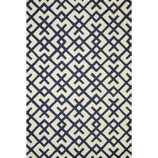 Hand-tufted Tatum Ivory/ Navy Wool Rug (7'9 x 9'9)