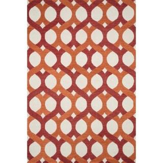Hand-tufted Tatum Red/ Orange Wool Rug (2'3 x 3'9)