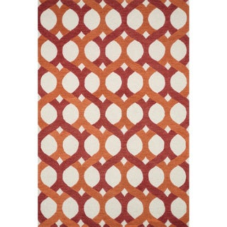 Hand-tufted Tatum Red and Orange Wool Rug (7'9 x 9'9)