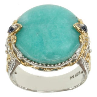 Michael Valitutti Two-tone Round-cut Amazonite and Blue Sapphire Ring