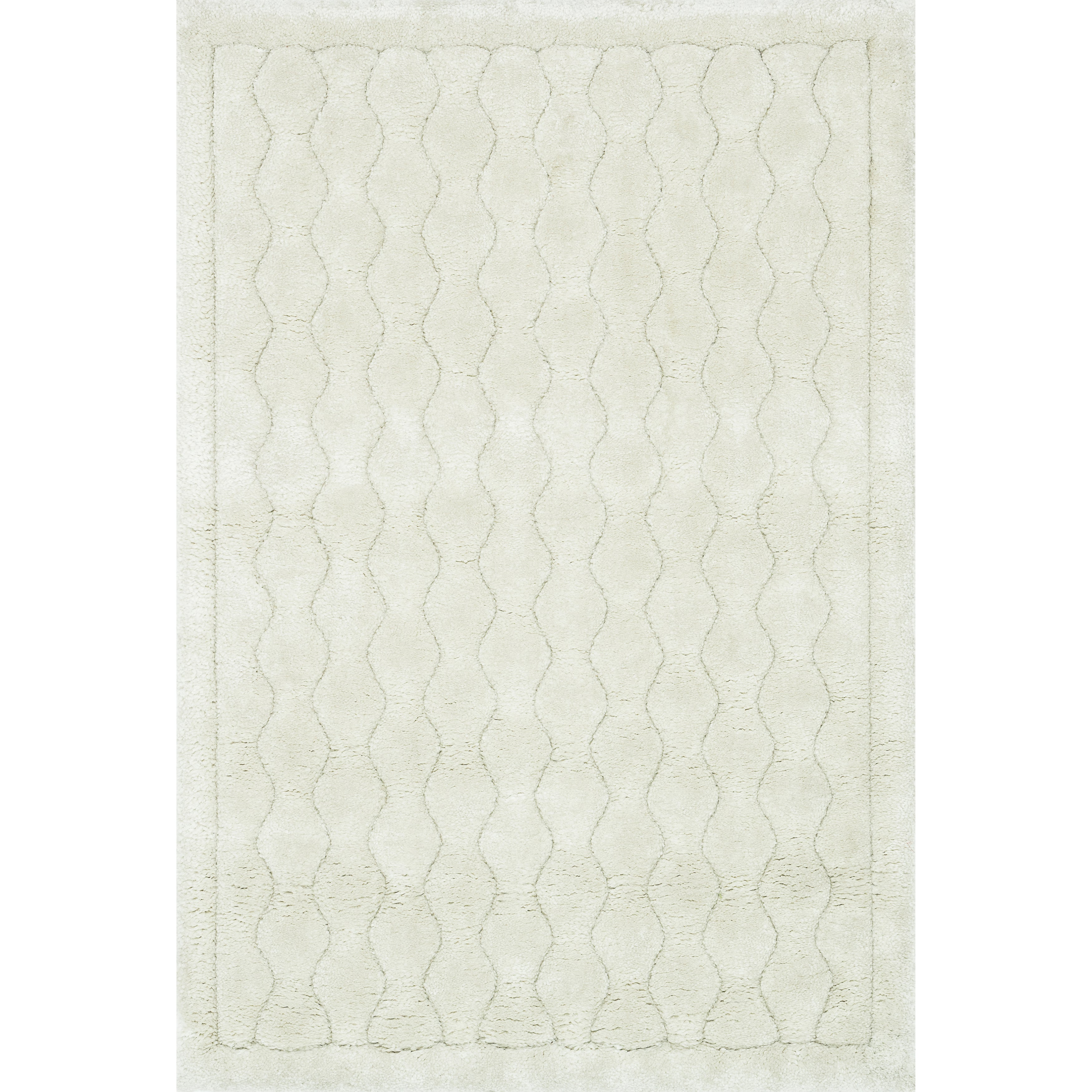 Machine Made Plush Shag Ivory Area Rug (3'9x5'6)