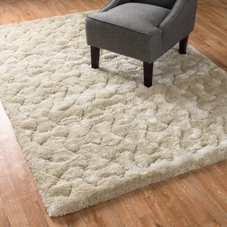 Machine-made Plush Ivory Shag Area Rug (7'7 x 10'5)