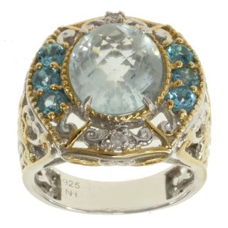 Michael Valitutti Two-tone Aquamarine, Swiss Blue Topaz and White Sapphire Ring
